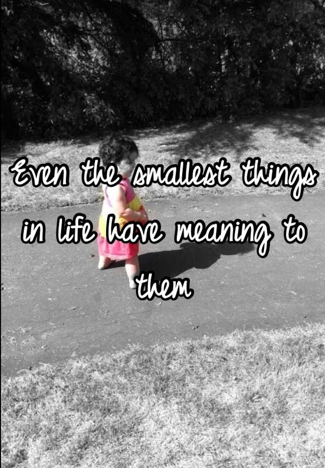 Even the smallest things in life have meaning to them