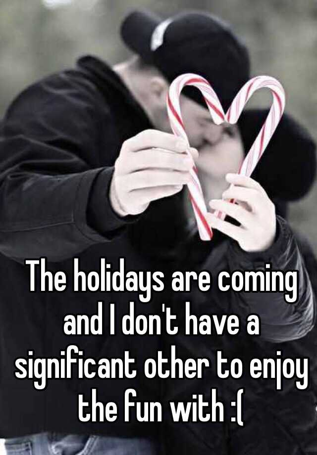 The holidays are coming and I don't have a significant other to enjoy the fun with :(