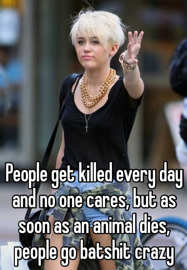 People get killed every day and no one cares, but as soon as an animal dies, people go batshit crazy