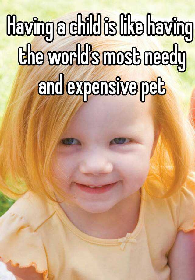 Having a child is like having the world's most needy and expensive pet