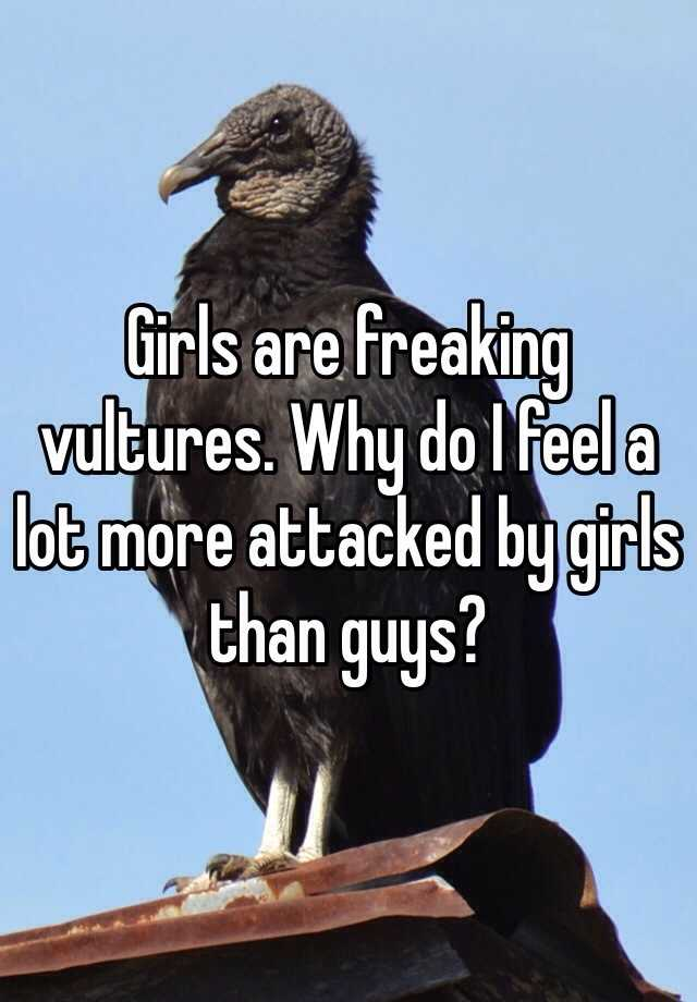 Girls are freaking vultures. Why do I feel a lot more attacked by girls than guys?