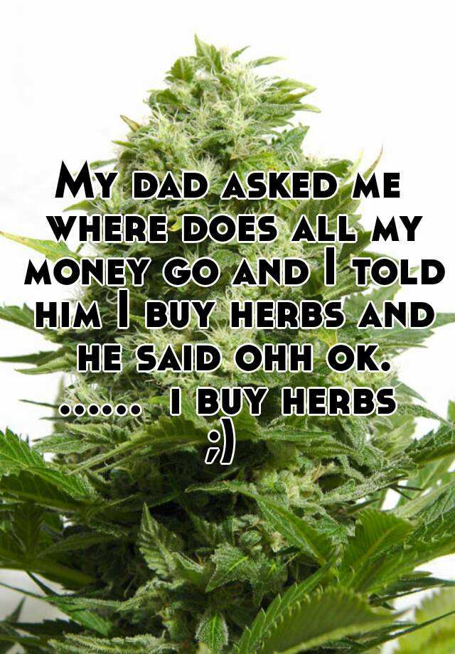 My dad asked me where does all my money go and I told him I buy herbs and he said ohh ok.  ......  i buy herbs ;)