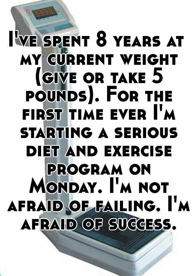 I've spent 8 years at my current weight (give or take 5 pounds). For the first time ever I'm starting a serious diet and exercise program on Monday. I'm not afraid of failing. I'm afraid of success.
