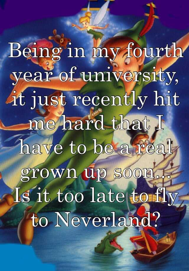 Being in my fourth year of university, it just recently hit me hard that I have to be a real grown up soon...  Is it too late to fly to Neverland?
