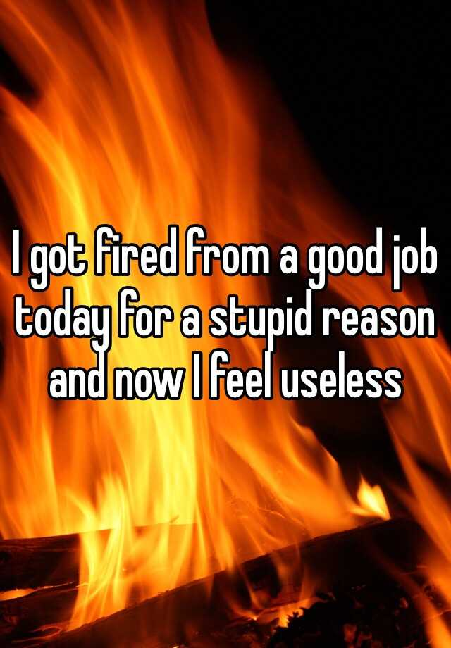 I got fired from a good job today for a stupid reason and now I feel useless